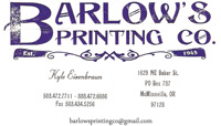 advertisement for Barlows Printing Co