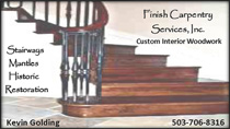 advertisement for Finish Carpentry