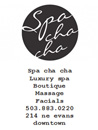 advertisement for Spa Cha Cha